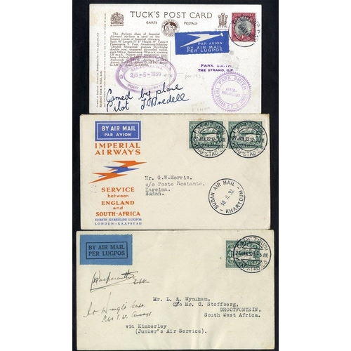 1475 - 1932 & 1935 three first flight covers with Imperial Airways 1932 Cape Town - Kareima, Sudan (one of ...
