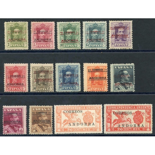 1496 - SPANISH POST OFFICE IN ANDORRA 1928 Type A 25c to 10p (SG.7A/13A), Type 13 2c to 20c (SG.1B/6B), als...