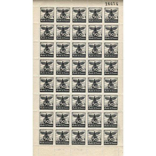 1497 - REVENUE STAMPS 1936 'Auxilio de Invierno' (Winter Relief) label in black, unexploded booklet of 50 p...