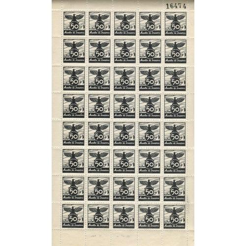 1497 - REVENUE STAMPS 1936 'Auxilio de Invierno' (Winter Relief) label in black, unexploded booklet of 50 p...