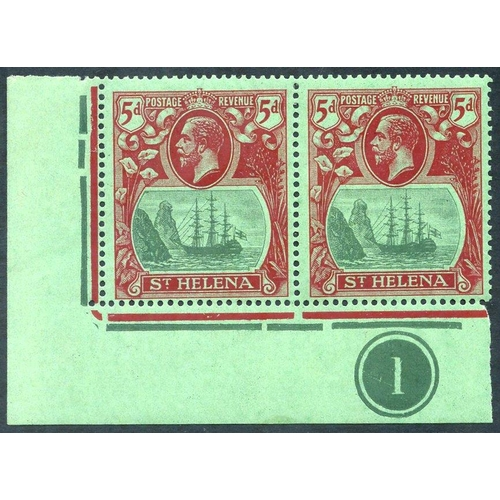1503 - 1922-27 MSCA 5d corner marginal M plate number pair incl. 'cleft rock' minor bend, SG.103c, Cat. £25...