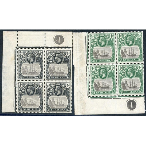 1505 - 1922-37 MSCA ½d grey & black corner marginal plate block of four showing R1/2 'Comex' flaw & R2/1 'b...