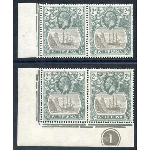 1507 - 1922-37 MSCA 2d corner marginal plate pair incl. 'cleft rock' M (gum disturbance), marginal pair 1st...