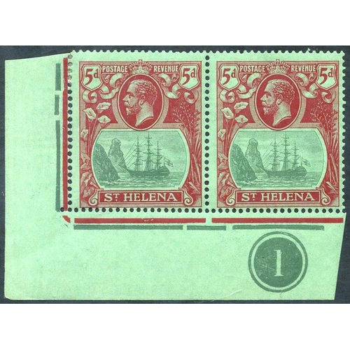 1508 - 1922-37 MSCA 5d corner marginal M plate number pair incl. 'cleft rock,' minor bend, SG.103c. (2) Cat...