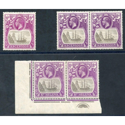 1509 - 1922-37 MSCA 8d corner marginal M plate pair incl. variety 'cleft rock,' some creasing, SG.105c, ano...