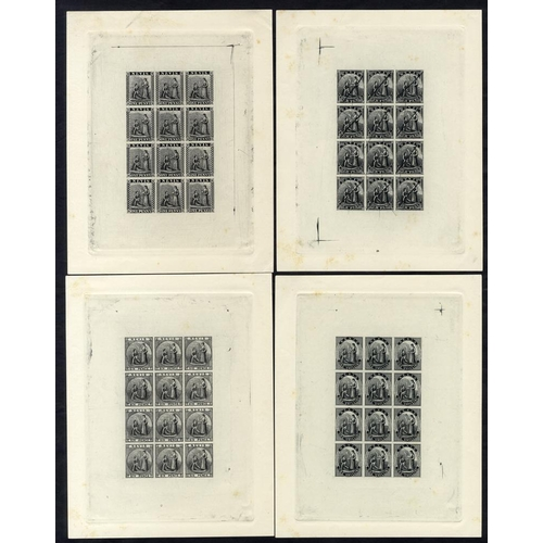 1512 - NEVIS 1861 1d, 4d, 6d & 1s - set of four sheetlets of 12, plate proofs in black reprinted by the Roy...