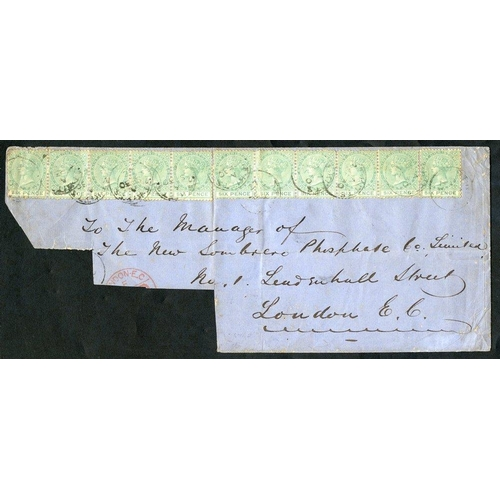 1513 - ST. CHRISTOPHER 1872 (30 Sep) large part envelope to London, bearing 1871 CCC P.12½ 6d green strips ...