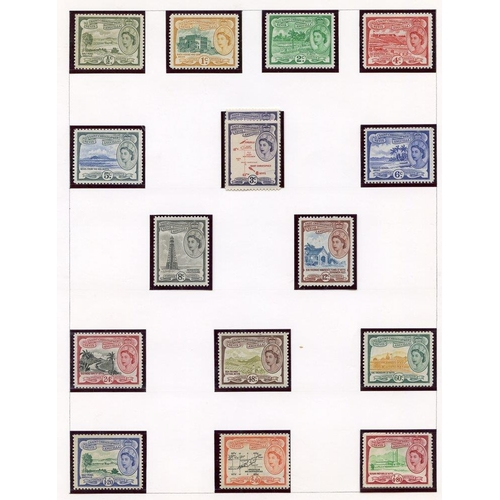 1514 - Collection on leaves. Nevis 1882 ½d, 1d carmine, 2½d ultramarine M, 1948 Wedding, 1954 set to $4.80c...