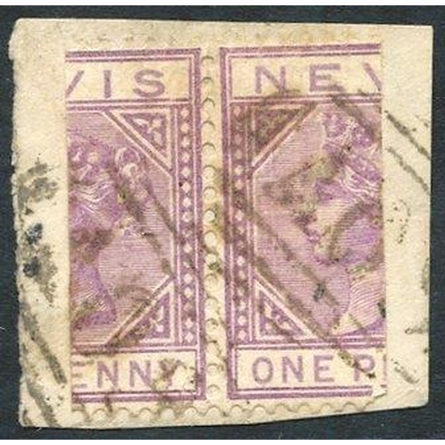 1515 - NEVIS 1882-90 1d lilac-mauve, pair bisected (cut at left & right), VFU on a piece by 'A09' barred nu...
