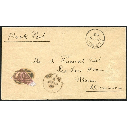 1516 - NEVIS 1883 env sent from Nevis to Roseau, Dominica, bears m/s endorsement 'Book Post' franked diagon...