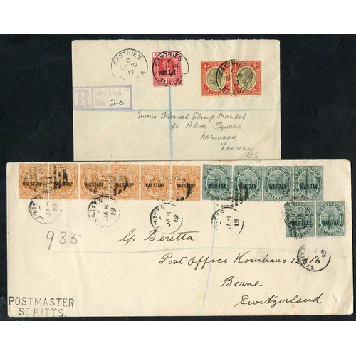 1517 - 1919 registered envelope to Switzerland, franked strip of four & pair ½d War Stamp, also strip of si...