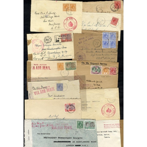 1520 - WWII various censored covers incl. double ring CROWN/ST. KITTS/PASSED BY CENSOR mark in red (2), one...