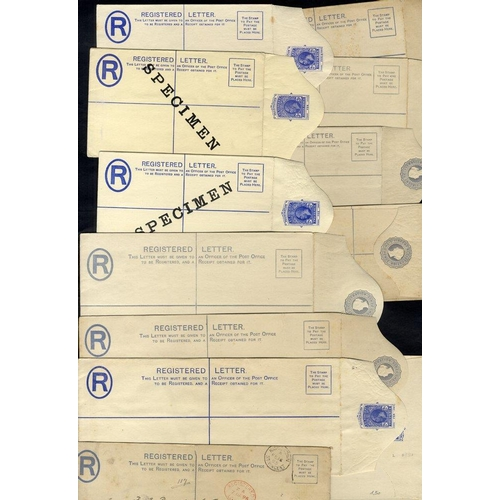 1523 - QV-KGVI registered stationery envelopes mainly unused noted KGV 2d SPECIMEN optd etc. (12)...