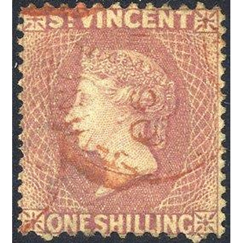 1524 - 1872-75 Perf 11 to 12½ x 15 1s lilac rose U, red St. Vincent c.d.s (SG.20), clear 1981 PF of SA Cert...