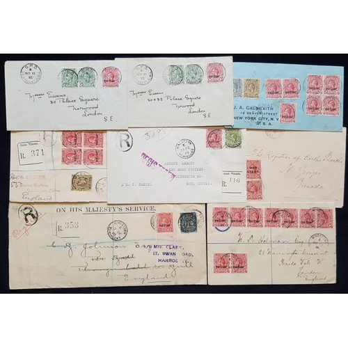 1529 - 1916 range of covers addressed to England, USA & Nova Scotia, all bear KGV frankings incl. OHMS regi...