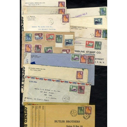 1530 - WWII censored covers with examples PASSED BY CENSOR No. 3 with reg 1941 airmail cover, set to 1s, va...