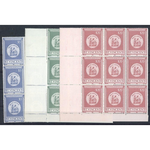 1531 - 1980 Stamps Duty Revenues, $5, $10 & $20 each UM BLOCK OF NINE (2 blocks are corner marginals) Baref...