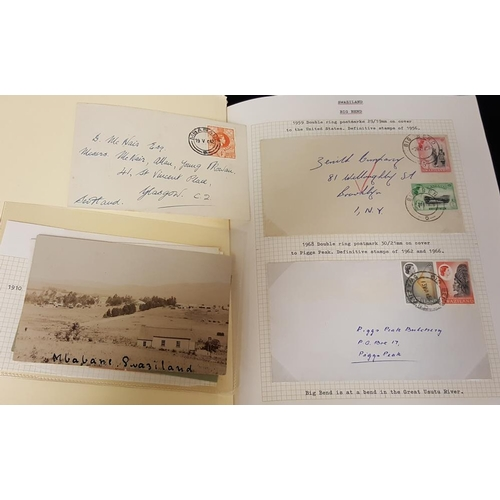 1542 - Album containing covers & postcards with 1922 reg cover bearing all seven S.A Territories - used las...