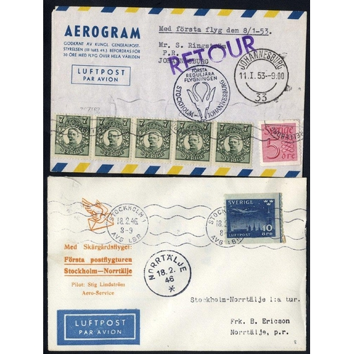1552 - 1937-60 first flight covers incl. DNL first flight Stockholm/Oslo 21.6.37, Parachute mail first flig...