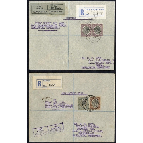 1566 - 1930 Dec 24th GOVERNMENT first flight Dar Es Salaam - Tanga reg cover, franked 30c pair (46 flown), ...