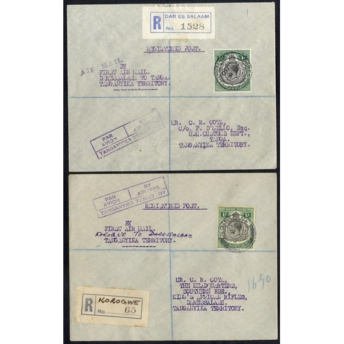 1567 - 1930 Nov 27th GOVERNMENT first flight Dar Es Salaam - Korogwe attractive reg cover, franked KGV 1s, ...