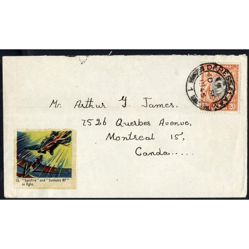 1568 - 1946 cover with KGVI 20c K.U.T value, tied Dar Es Salaam c.d.s, with rare coloured SPITFIRE & JUNKER...