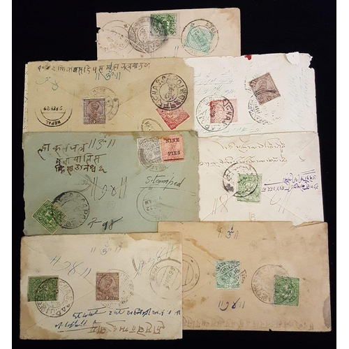 1569 - 1918-20's group of covers with various Tibetan Tranka imperfs used with Indian vals to Nepal, Tibet ...