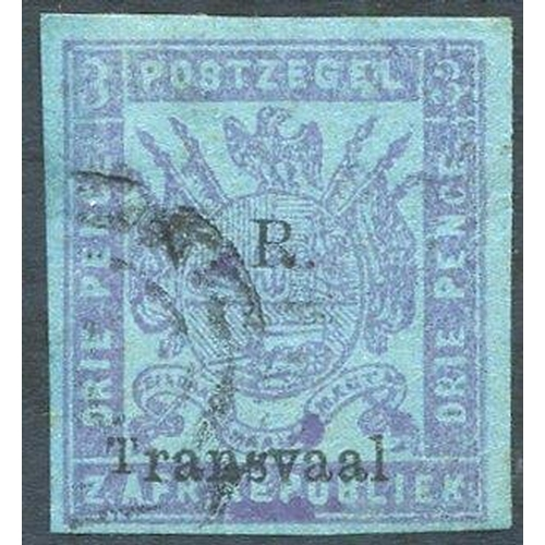 1577 - 1879 Imperf 3d mauve on blue variety 'small T' fine U, good to large margins, SG.149a. (1) Cat. £130...