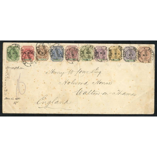 1580 - 1900 VRI ovpt set to 10s (excl. 5s) used on cover to GB, cancelled Pretoria 16.Aug.00, some age toni...