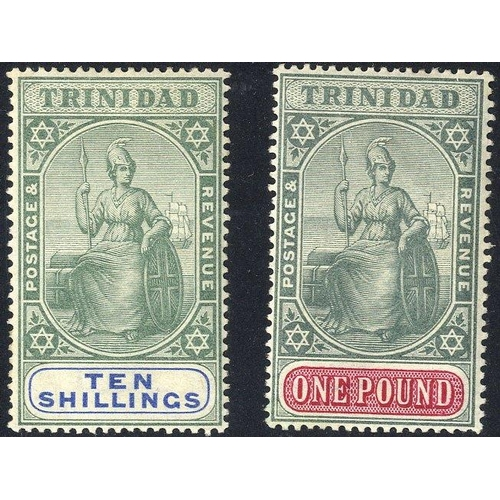 1586 - TRINIDAD 1896-1906 10s & £1, both fine M, dealer h/stamp on reverse, SG.123/4. (2) Cat. £490...