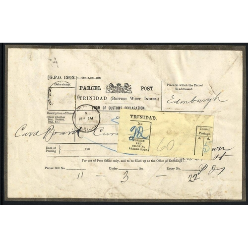 1587 - c.1903 Parcel Post Customs Declaration labels, used to Scotland, a Trinidad Parcel Post c.d.s and