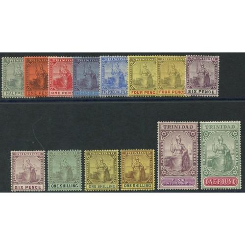 1588 - TRINIDAD 1904-07 MCCA set, fine M, SG.133/145. (14) Cat. £475...