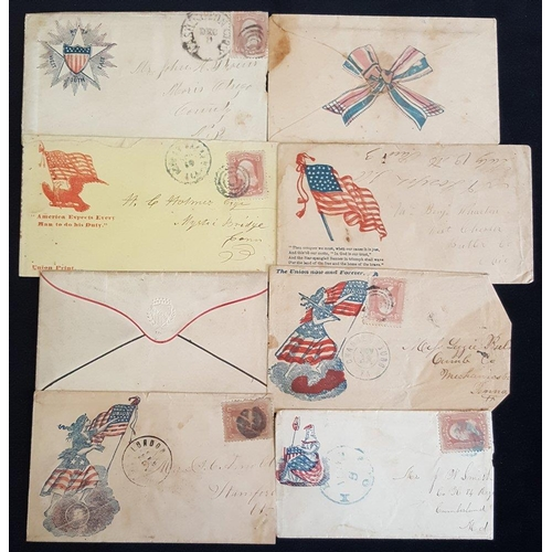 1604 - 1861-65 patriotic illustrated covers 3c frankings, showing Liberty & Union Flag, Liberty & Shield, E...