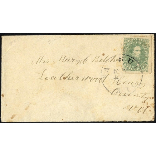 1605 - CONFEDERATE STATES 1861 cover bearing 5c light green, tied Suffolk, VA c.d.s, addressed to Leatherwo...