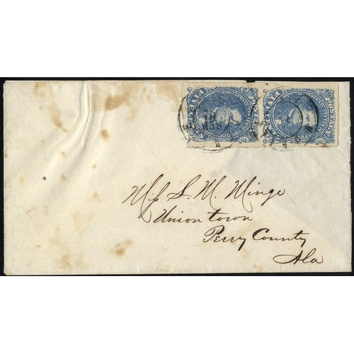 1606 - CONFEDERATE STATES 1862 cover with vertical pair 5c blue (Scott 4), tied Twin Mobile, AL c.d.s, addr...