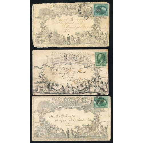 1607 - c1870 three pictorial envelopes each franked 3c Washington, plus British Peace envelope by Valentine...