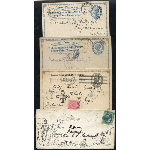 1608 - 1890-93 pair of 2c postcards to Japan, one with Yokohama - Meiji arrival mark, other San Francisco t...