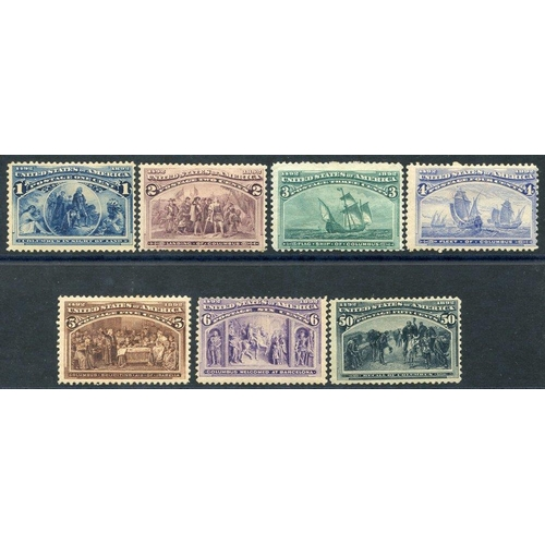 1609 - 1893 Columbian 1c, 2c, 3c, 4c, 5c, 6c & 50c, all M, SG.235/40, 245. (7) Cat. £825...