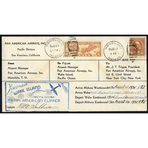 1617 - 1935 P.A.A survey flight Honolulu/Midway/Lake/San Francisco company cover with full manuscript authe...