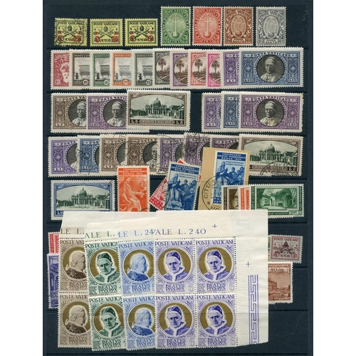 1623 - 1929-95 collection of M & U issues on stock leaves containing 1929 Conciliation set with first day c...