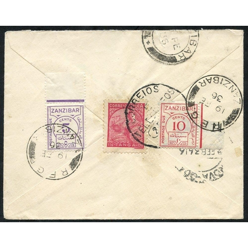 1632 - 1936 small underpaid cover with large T20c on obverse, reverse shows PORT - INDIA 1½T value & Zanzib...