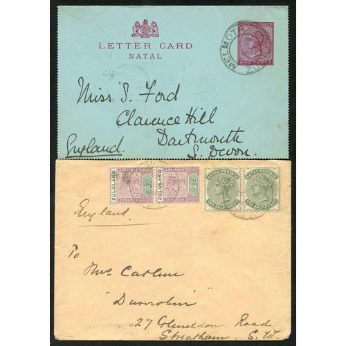 1636 - 1899 (6 Oct) double rate env from Eshowe to England, bearing 1894 ½d dull mauve & green and Natal ½d...