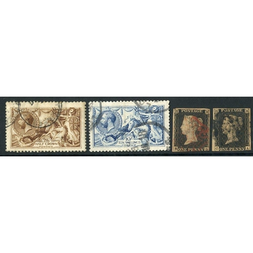 1668 - COLLECTION/ACCUMULATION on hagner leaves, highlights incl. 1840 1d (2) both three margins, 1841 2d (...