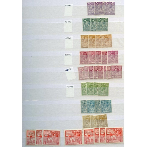 1670 - QV-KGVI stock of duplicated M stamps in two stock books, strength from KGV incl. 1912 Royal Cypher 5...