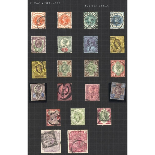 1672 - 1883-1966 COLLECTION of M & U on black leaves incl. 1883 2/6d, 5s U, Jubilee set U (1s faded), KEVII...