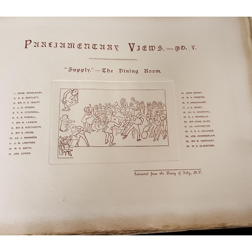 1683 - Circa 1890 hardback book (front cover loose) with 28 Parliamentary views by Harry Furniss from Punch...