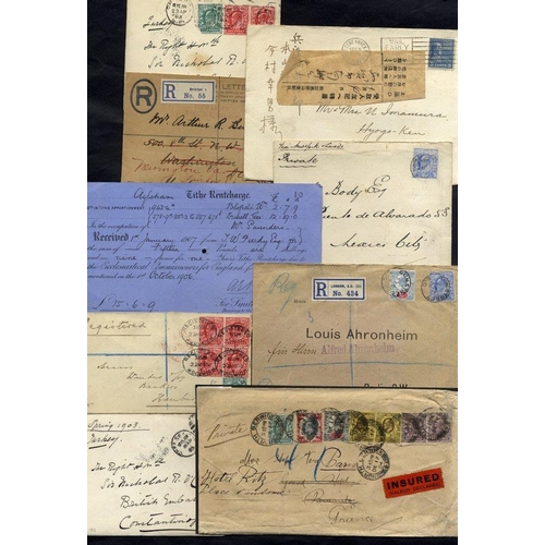 1685 - EDWARDIAN COVERS (33) interesting lot with overseas destinations, single & multiple frankings, value...
