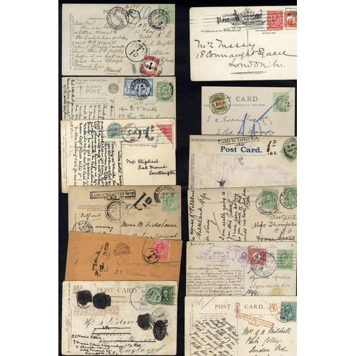 1686 - EDWARDIAN COVERS collection of approx 80 housed in a postcard album, collected for combinations of f...