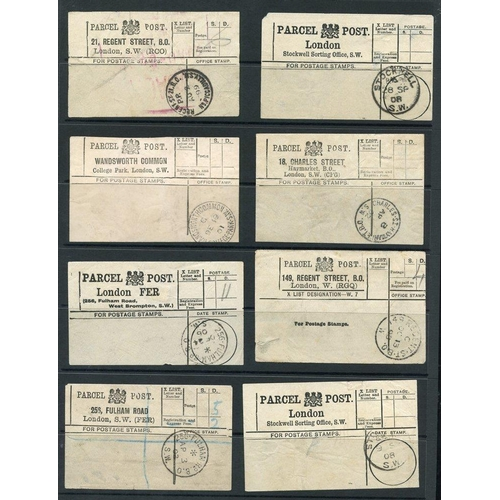 1689 - PARCEL POST LABELS selection of white stampless London Parcel Post Labels with appropriate c.d.s d/s...