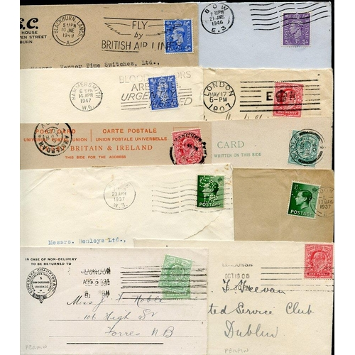 1690 - PERFINS 1904-57 selection of 40 covers or cards - all bearing identified perfins except 2, mainly fi...